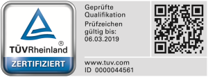 TÜV Zertifikat - Gültigkeit -> 2019